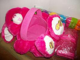 DanDee Easter Basket Kit Hot Pink Plush Dan Dee Bunny Rabbit Grass Happy Eggs - $18.99