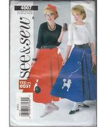 Misses Costume Poodle Skirt, Petticoat & Appliques See & Sew Butterick 4007 S-L - $11.88