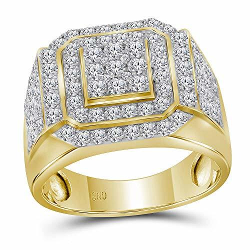 Primary image for The Diamond Deal 10kt Yellow Gold Mens Round Diamond Square Frame Cluster Ring 2