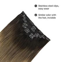 Easyouth Clip in Remy Hair Extensions Double Weft Hair Balayage Color 2 Darkest  image 5