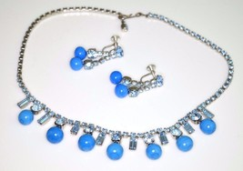 VTG Silver Tone Blue Glass Rhinestone Bead Beaded Choker Necklace Earrings - $59.40
