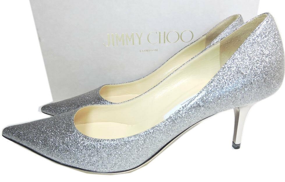 Jimmy Choo Aurora Silber Glitzer Pumps Spitz Wenig Absatz Schuh 38.5