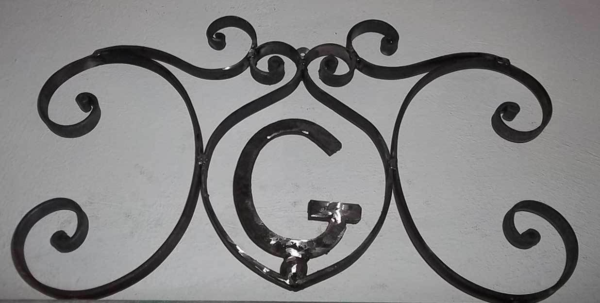 Rustic hand forged wrought iron monogram decor art door
