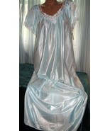 Baby Blue White Embroidery Nylon Long Nightgown... - $23.00