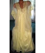 Light Yellow Nylon Robe & Gown Set 2X 3X Lace C... - $35.35