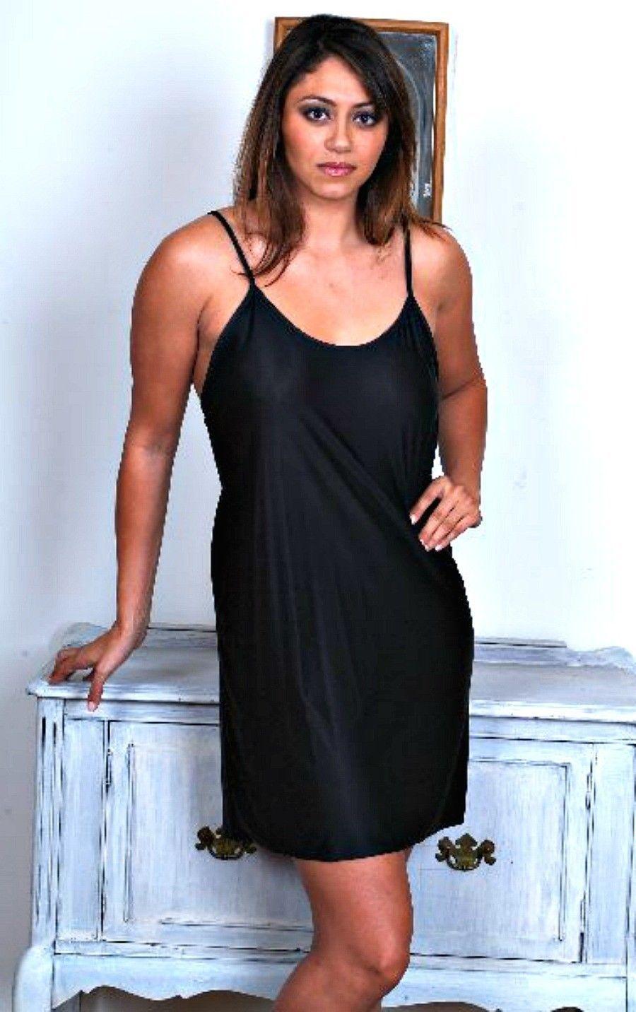 Stretch Nylon Nightgowns Slip Chemise 1X Plus Size Black Short Gown