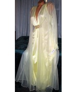 Bridal Lemon Yellow Long Nightgown & Robe Set 4X Chiffon Peignoir Nylon - $38.94