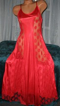 Red Nylon Gown Front Lace Panels M Nightgowns Sexy Semi Sheer - $22.00