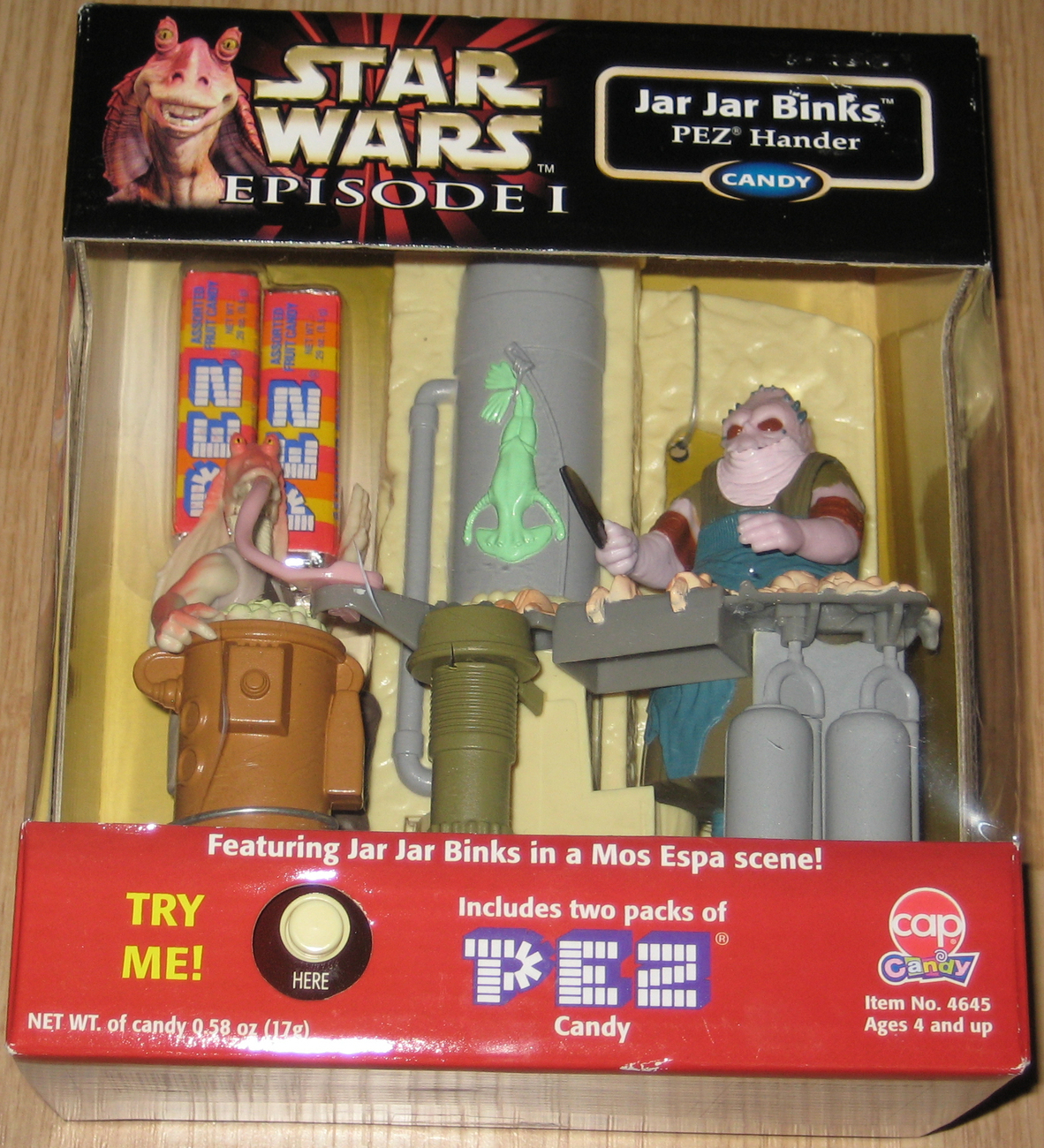 * 1999 Star Wars Jar Jar Binks Mos Espa PEZ Handler MIB