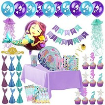 Mermaid Party Supplies - Complete Tableware and Decoration Deluxe Set - ... - $26.15