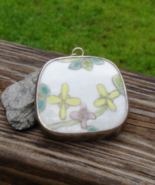 Vintage Hand Painted Chinese Pottery Shard Pendant, Qing Dynasty Sterlin... - $48.00