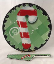 """Large Candy Cane Christmas Serving Platter w Cake Pie Server 11.5"""" - $18.95"""