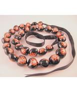"""Kukui Tree Nut Hawaiian Lei Hibiscus Flower Heart Beads 31 1/4"""" Unisex - $26.72"""