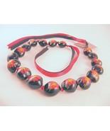 """Kukui Tree Nut Hawaiian Lei Hibiscus Flower Heart Beads 18 3/4"""" Unisex - $22.27"""