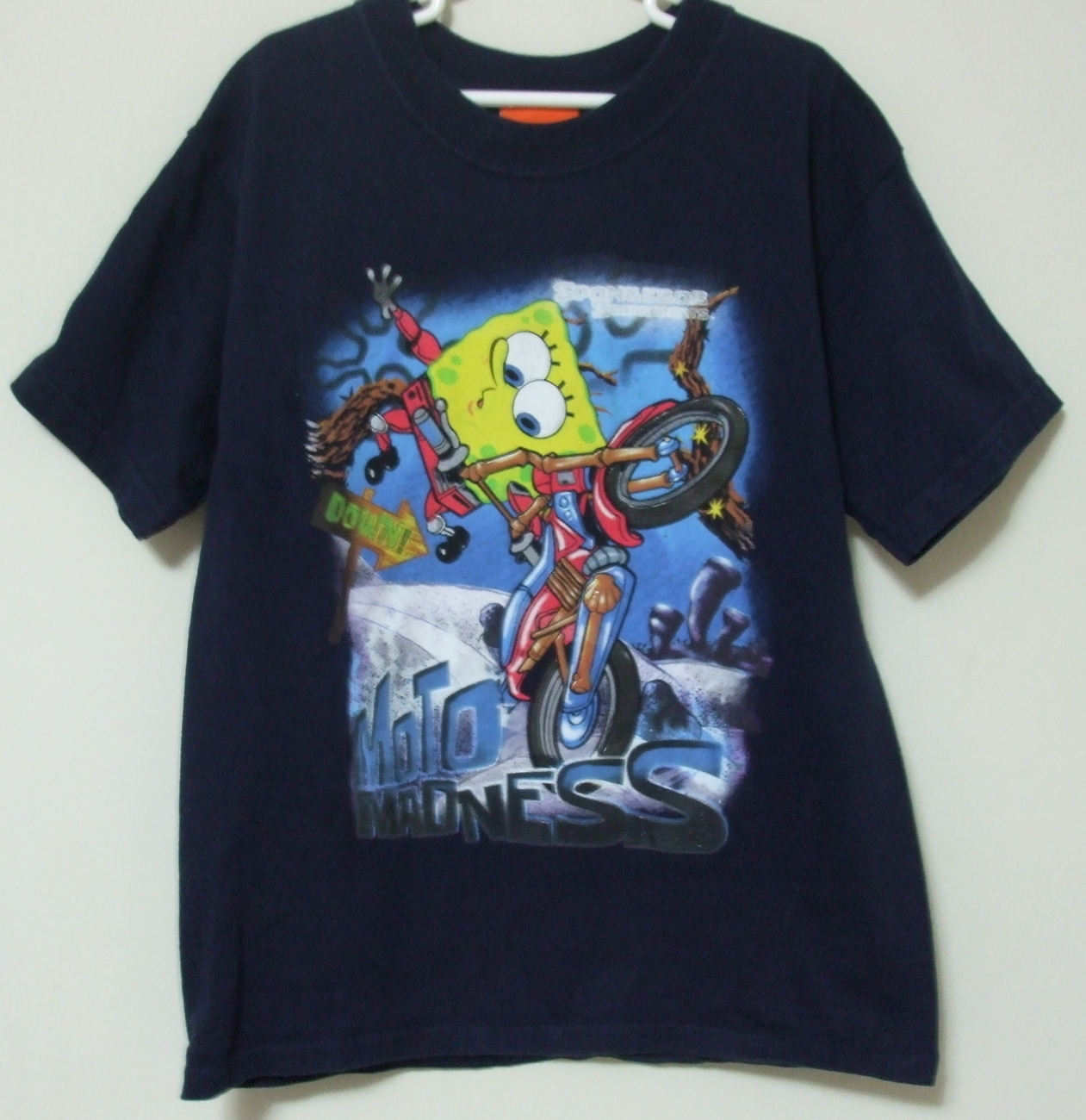 Primary image for Boys Nickelodeon Sponge Bob Navy Blue Short Sleeve T Shirt Size M