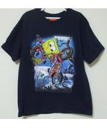 Boys Nickelodeon Sponge Bob Navy Blue Short Sleeve T Shirt Size M - $4.95