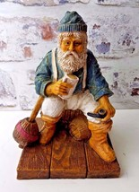 """Old Man with pipe and mug Resting Painted Carved Figurine 10"""" - $29.98"""