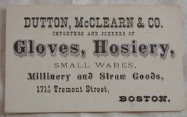 Dutton McClearn Boston Victorian trade card millinery gloves - $6.50
