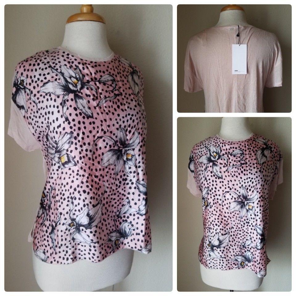122ca242 57. 57. NWT Zara Women's Blouse Knit Top Light Pink Floral Short Sleeve  Casual Shirt S; NWT Zara ...