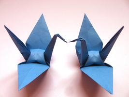 100 Large Blue Color Origami Cranes - $25.00
