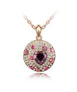 Swarovski Amethyst Heart Crystal &Pink Rhinestones Stud Circle Pendant N... - $29.99