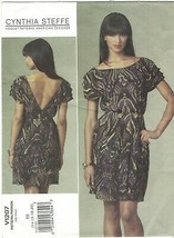 Vogue 1207 Cynthia Steffe Low V Back Dress Pattern Plus Size 14 16 18 20... - $14.69