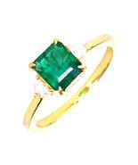 1.10 Ct Emerald 0.13 Ct Diamond Ring in 18K Yellow Gold - $1,104.83