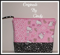 Hello Kitty Baby Diaper Wipes Case Cosmetic Bag Hot Pink Black Dots - $17.50