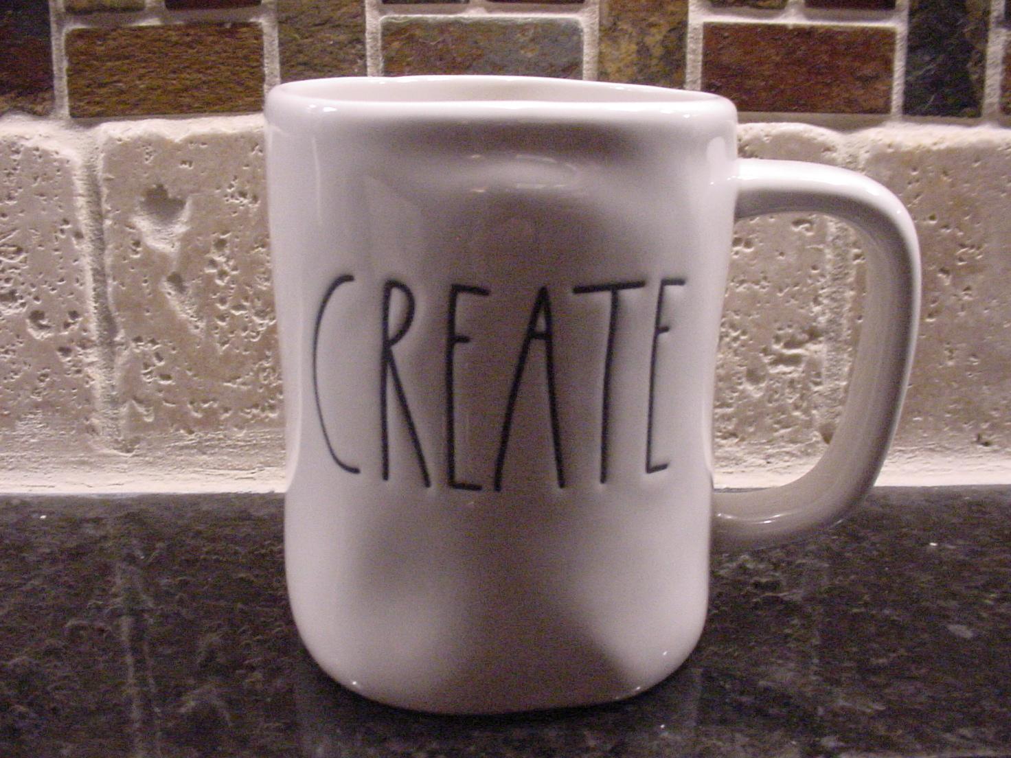 Rae Dunn CREATE Mug, Ivory with Black Lettering