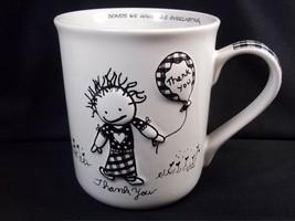 Marci 3D coffee mug THANK YOU Children Inner Light Enesco Black white 14 oz - $12.43