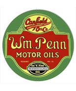 W.M Penn Gasoline Reproduction Motor Oil Metal Sign 14x14 Round - $25.74