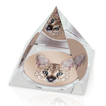 "Serval Cat Head Illustration Animal Art 3.25"" Crystal Pyramid Paperweight - $29.95"