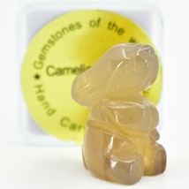 Carnelian Agate Gemstone Tiny Miniature Bunny Rabbit Figurine Hand Carved China