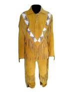 New Men's Native American Buckskin Tan Suede Leather Beaded Jacket & Pan... - $226.71+