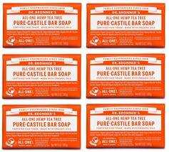 Dr. Bronner's Pure-Castile Bar Soap – Tea Tree, 5 oz (6 Pack) - $38.58