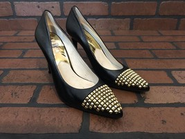 Michael Kors Heels Black Leather With Gold Cap Toe Studs Size 6.5 - $77.06