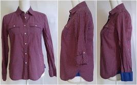 Talbots Womens Button Down Shirt Size 2 Blue Orange Check Roll Tab Sleeves - $12.99
