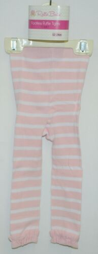 RuffleButts RLKPI12WS00 Pink Striped Footless Tights Size 12 to 24 Months