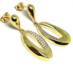 Boucles D'Oreilles Pendantes or Jaune 750 18k, Ovales Ondulés avec Zircon image 2