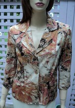 COLDWATER CREEK Honey Brown/Beige Autumn Sketches 3/4 Sleeve Cotton Jack... - $34.20