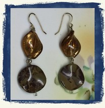 VTG Gold Metallic Brown Marble Look Plastic Beads Long Dangling Pierced ... - $6.99