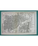 1884 MAP Baedeker - FRANCE Strasbourg City Plan - $19.80