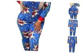 One Piece Hooded Sleepwear for Women,Sexy Printed Christmas Medium Blue - $37.88