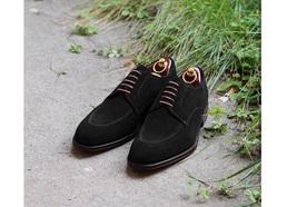 Genuine Suede Leather Black Color Apron Toe Men Oxford Lace Up Handmade Shoes - $139.90+