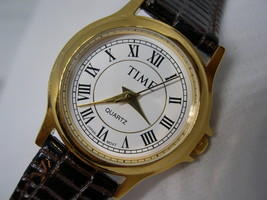 """L40, TIME, Ladies White Faced Watch, Gold Tone with 8"""" Br. Leather Band, wb - $19.99"""