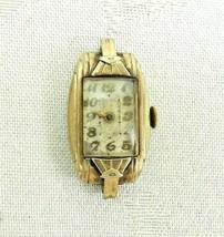 Vintage Mignon Ladies Watch Gold Rectangle Art Deco Mechanical Wind PART... - $14.84