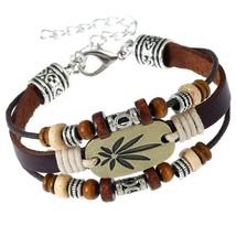 Maple Leaf Leather Beads Bracelet Rasta Beads Leather Wrap Bracelet With Hip Hop - $25.99