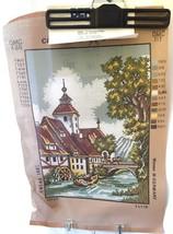 "Vintage Church Needlepoint Canvas 12"" x 16.5"" Bernat 12 Count Penelope  - $17.11"