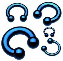 "Horseshoe Heavy 12 Gauge 1/2"" Titanium IP Blue 4mm Balls Body Jewelry - $6.99"