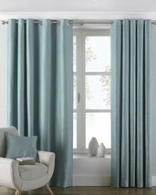 PLAIN WOVEN DUCK EGG BLUE LINED ANNEAU TOP CURTAINS 8 SIZES - $81.96+